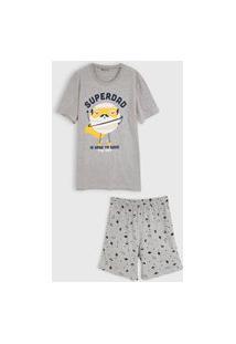Pijama Hering Kids Curto Infantil Full Print Cinza