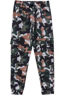 Calça Infantil Moletom Johnny Fox Camuflada Masculina - Masculino-Verde