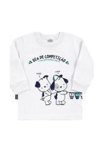 Camiseta Branco Bebê Menino Meia Malha 38552-3 Camiseta Branco Bebê Menino Meia Malha Ref:38552-3-P