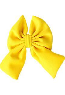 Presilha Laço De Tecido Rosa Claro Amarelo
