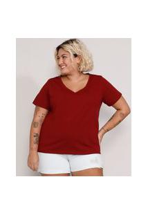 Camiseta Plus Size Feminina Manga Curta Decote V Vermelha Escuro