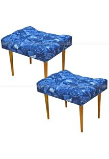 Kit 2 Puffs Requinte Capitonê Banqueta Pés Palito 565 Lyam Decor Azul Jeans