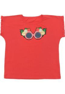 Camiseta Fun Friends Kids Curto Menina Liso Vermelho
