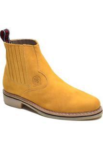 Bota Couro Solado Latex Elástico Masculina - Masculino-Amarelo