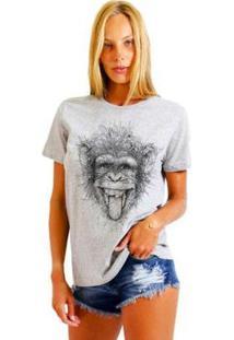 Camiseta Joss Feminina Estampada Macaco Maluco - Feminino-Mescla
