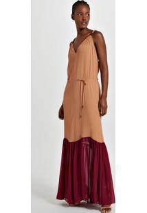 Vestido Longo Bicolor Decote Costas Com Detalhe Metal Laranja Pierre