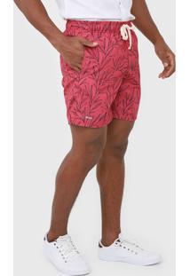 Bermuda Mash Reta Folhagem Rosa - Rosa - Masculino - Poliã©Ster - Dafiti
