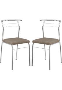 Cadeira 1708 Cromada 02 Unidades Camurça Conhaque Carraro