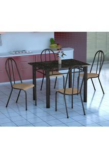 Conjunto De Mesa Genova Com 4 Cadeiras Alicante Preto Prata E Nature Bege