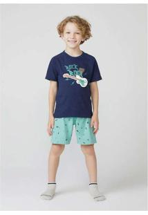 Pijama Infantil Menino Com Estampa Azul