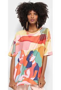 Camiseta Cantão Amizade Feminina - Feminino-Vermelho+Amarelo