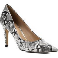 2f51d8252 Scarpin Couro Shoestock Snake Salto Alto Bico Fino - Feminino-Preto+Branco