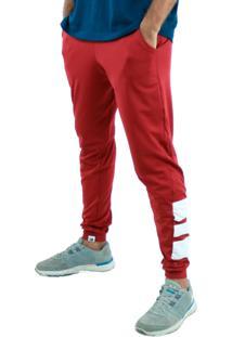 Calça Suplex Aveludada Bravaa Modas Faixas Largas Skinny Slim 313 Vermelho