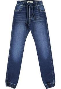 Calça Infantil Look Jeans Jogger Jeans Masculina - Masculino-Azul
