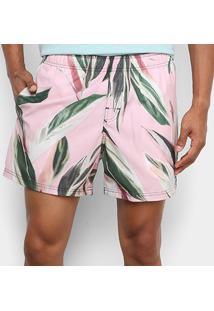 Bermuda Osklen Beach Short Pink Leaf Masculina - Masculino