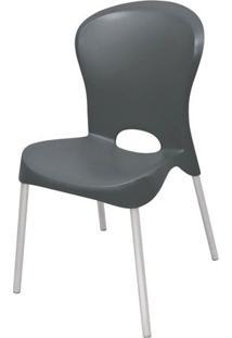 Cadeira Jolie Base Aluminio Polido Cor Preto - 21730 - Sun House