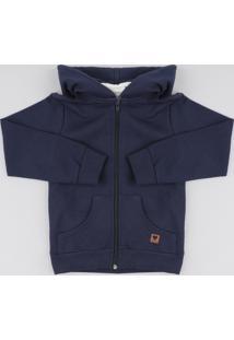 Blusão Infantil Básico Em Moletom Com Capuz Azul Marinho