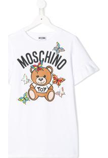 Moschino Kids Vestido Com Babados Nas Mangas - Branco