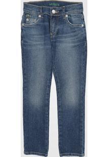 Calça Jeans Lacoste Kids Infantil Estonada Azul
