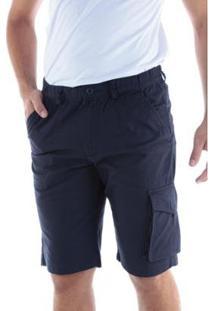 Bermuda Sarja Regular Com Elástico Traymon Masculina - Masculino-Marinho