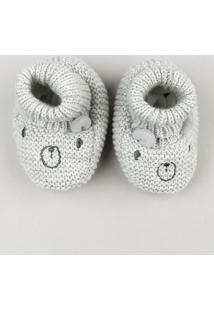 Sapato Infantil Em Tricô Com Orelhinhas Cinza