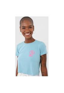 Camiseta Cropped Aeropostale Island Time Azul/Rosa