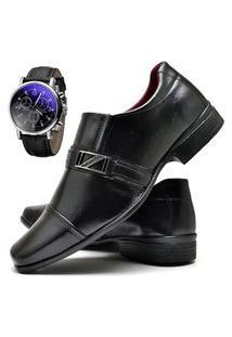 Sapato Social Masculino Com E Sem Verniz Db Now Com Relógio Dubuy 820Od Preto