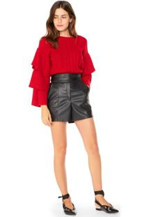 Shorts De Leather Cintura Alta