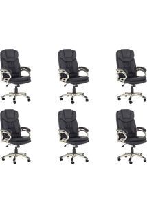 Conjunto Com 6 Cadeiras De Escritório Clark Preto
