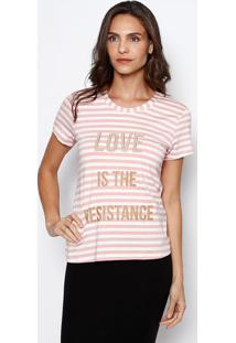"Camiseta Listrada ""Love"" - Rosa Claro & Branca - ÊNfãŠNfase"