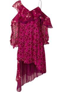 Self-Portrait Vestido Assimétrico 'Devore' - Pink & Purple