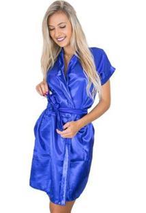 Robe Mvb Modas Cetim Feminino - Feminino-Azul