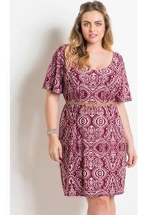 Vestido Estampado Com Cinto Plus Size Quintess