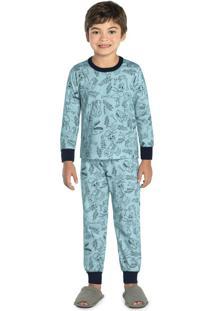Pijama Infantil Masculino Dino Azul