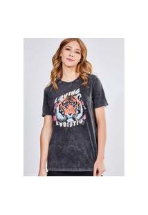 Camiseta Marmorizada Estampa Tigre