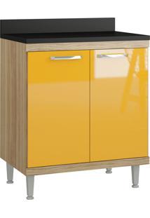 Balcão Multiuso P E Cooktop Argila Acetinado Multimóveis Bege/Amarelo