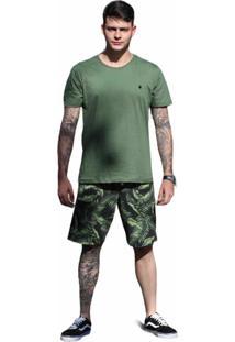 Bermuda Casual Masculina Estampada Verde Conforto Dia A Dia