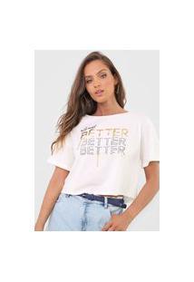 Camiseta Cropped Dimy Brilhos Bege