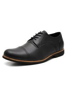 Sapato Social Oxford Veneza Click Calcados Tamanho Especial Couro Preto