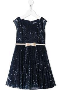 Monnalisa Vestido Com Aplicação De Paetês - Azul