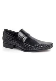 Sapato Social Rafarillo Masculino Couro Liso Bico Quadrado Preto