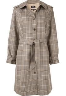 A.P.C. Trench Coat Xadrez 'Ava' - Marrom
