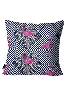 Capa Para Almofada Mdecore Flamingos 45X45Cm Multicolorido