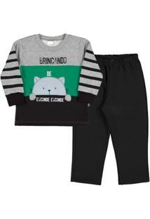 Conjunto Bebê Menino Moletom - Masculino-Verde+Cinza