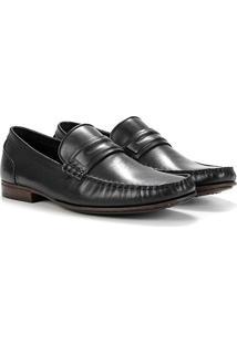 Sapato Social Couro Democrata Bico Fino Masculino - Masculino-Preto