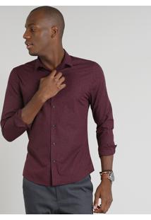 Camisa Masculina Slim Estampada Manga Longa Vinho