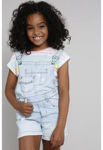 Jardineira Jeans Infantil Com Puídos E Tachas Delavê