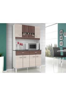 Cozinha 8 Portas Manu Amêndoa/Capuccino - Lc Móveis