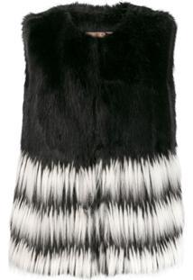 Twin-Set Long Faux-Fur Gilet - Preto