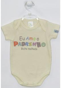 Body Bebê Manga Curta Padrinho - Masculino-Creme